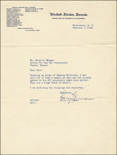 PRESIDENT HARRY S TRUMAN - TYPED LETTER SIGNED 02/01/1939