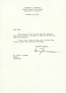 PRESIDENT HARRY S TRUMAN - TYPED LETTER SIGNED 11/20/1956