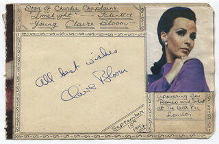 CLAIRE BLOOM - AUTOGRAPH SENTIMENT SIGNED CIRCA 1952