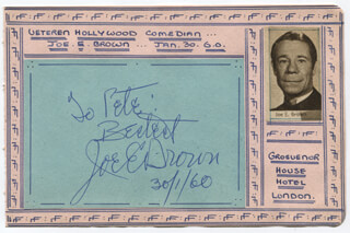 JOE E. BROWN - AUTOGRAPH NOTE SIGNED 01/30/1960