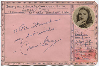 Autographs: COLEEN GRAY - AUTOGRAPH NOTE SIGNED CIRCA 1952
