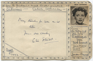 CELIA JOHNSON - AUTOGRAPH NOTE SIGNED CIRCA 1952