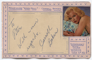 CARROLL BAKER - AUTOGRAPH NOTE SIGNED CIRCA 1959