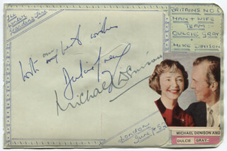 Autographs: MICHAEL DENISON - AUTOGRAPH NOTE SIGNED CIRCA 1952 CO-SIGNED BY: DULCIE GRAY