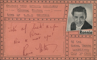 RONNIE HILTON - AUTOGRAPH NOTE SIGNED CIRCA 1955