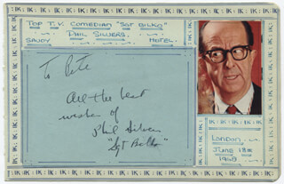 PHIL SILVERS - AUTOGRAPH NOTE SIGNED CIRCA 1968