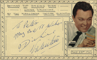 DICKIE VALENTINE - AUTOGRAPH NOTE SIGNED CIRCA 1955 CO-SIGNED BY: LIZ VALENTINE