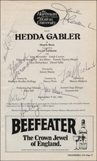 Autographs: HEDDA GABLER PLAY CAST - SHOW BILL SIGNED CO-SIGNED BY: DAVID SELBY, JANE ALEXANDER, EDWARD HERRMANN, PAMELA PAYTON-WRIGHT, JAN MINER, LEE RICHARDSON