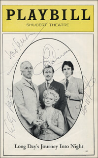 LONG DAY'S JOURNEY INTO NIGHT PLAY CAST - SHOW BILL SIGNED CO-SIGNED BY: LEN CARIOU, KATE REID, JOSE FERRER, BEN MASTERS