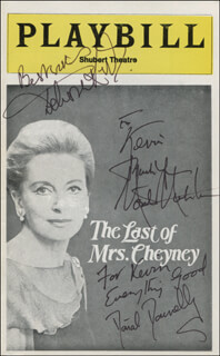 THE LAST OF MRS. CHEYNEY PLAY CAST - INSCRIBED SHOW BILL SIGNED CO-SIGNED BY: DEBORAH KERR, MONTE MARKHAM, DONAL DONNELLY