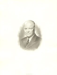 PRESIDENT DWIGHT D. EISENHOWER - ENGRAVING UNSIGNED