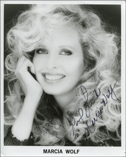 MARCIA WOLF - AUTOGRAPHED INSCRIBED PHOTOGRAPH