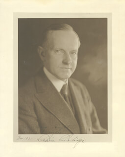 PRESIDENT CALVIN COOLIDGE - AUTOGRAPHED INSCRIBED PHOTOGRAPH 11/1921