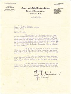 PRESIDENT LYNDON B. JOHNSON - TYPED LETTER SIGNED 04/27/1948