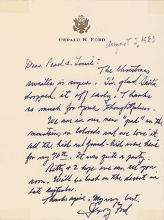 PRESIDENT GERALD R. FORD - AUTOGRAPH LETTER SIGNED 08/02/1983