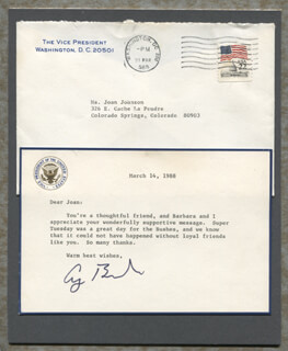 PRESIDENT GEORGE H.W. BUSH - TYPED LETTER SIGNED CIRCA 1988