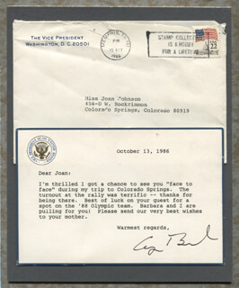 PRESIDENT GEORGE H.W. BUSH - TYPED LETTER SIGNED 10/13/1986
