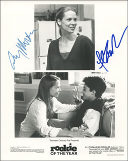 ROOKIE OF THE YEAR MOVIE CAST - AUTOGRAPHED SIGNED PHOTOGRAPH CO-SIGNED BY: AMY MORTON, THOMAS IAN NICHOLAS