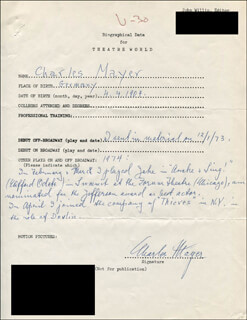 CHARLES MAYER - AUTOGRAPH RESUME SIGNED