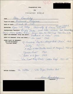 ALICE BEARDSLEY - AUTOGRAPH RESUME SIGNED
