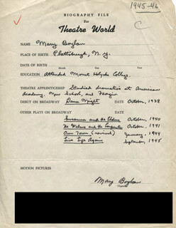MARY BOYLAN - AUTOGRAPH RESUME SIGNED