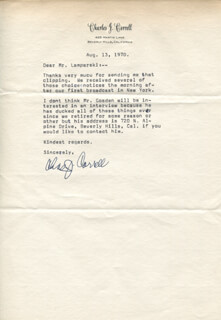 Autographs: CHARLES ANDY CORRELL - TYPED LETTER SIGNED 08/13/1970