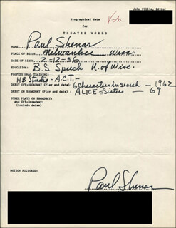 PAUL SHEMAR - AUTOGRAPH RESUME SIGNED