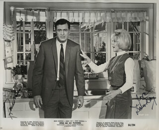 SEND ME NO FLOWERS MOVIE CAST - PRINTED PHOTOGRAPH SIGNED IN INK CO-SIGNED BY: DORIS DAY, ROCK HUDSON