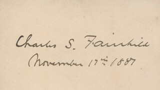 Autographs: CHARLES S. FAIRCHILD - SIGNATURE(S) 11/17/1887