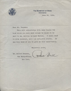 CORDELL HULL - TYPED LETTER SIGNED 06/25/1938
