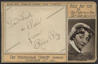 RENE RAY - AUTOGRAPH NOTE SIGNED CIRCA 1951