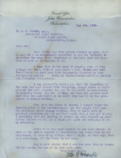 Autographs: JOHN WANAMAKER - TYPED LETTER SIGNED 05/08/1920