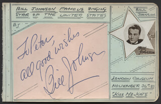 BILL JOHNSON - AUTOGRAPH NOTE SIGNED