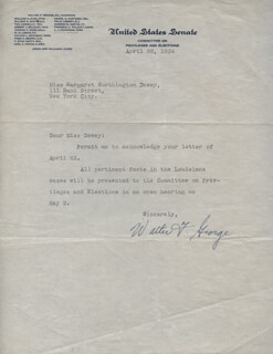 WALTER F. GEORGE - TYPED LETTER SIGNED 04/26/1934