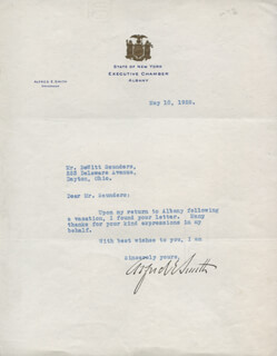 ALFRED E. SMITH - TYPED LETTER SIGNED 05/10/1928