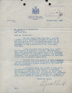 ALFRED E. SMITH - TYPED LETTER SIGNED 10/02/1925