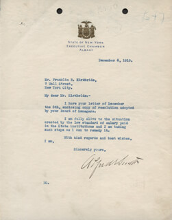 ALFRED E. SMITH - TYPED LETTER SIGNED 12/06/1919