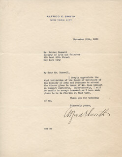 ALFRED E. SMITH - TYPED LETTER SIGNED 11/20/1930