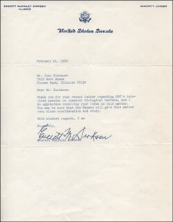 EVERETT M. DIRKSEN - TYPED LETTER SIGNED 02/21/1969