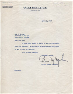 J. O. BRIEN McMAHON - TYPED LETTER SIGNED 04/03/1947