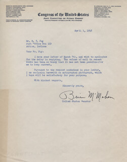J. O. BRIEN McMAHON - TYPED LETTER SIGNED 04/01/1948