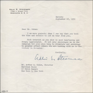 GOVERNOR ADLAI E. STEVENSON II - TYPED LETTER SIGNED 09/18/1956
