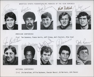 1972 NFL ROOKIE OF THE YEAR NOMINEES - AUTOGRAPHED SIGNED PHOTOGRAPH CO-SIGNED BY: ED MARINARO, FRANCO HARRIS, TOMMY CASANOVA, JEFF KINNEY, WALT PATULSKI, MIKE SIANI, JIM BERTELSEN, WILLIE BUCHANON, CHESTER MARCOL, JOHN REAVES