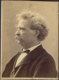 SAMUEL L. MARK TWAIN CLEMENS - INSCRIBED PHOTOGRAPH MOUNT UNSIGNED