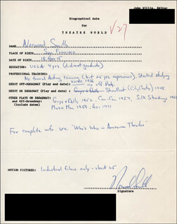NORWOOD SMITH - AUTOGRAPH RESUME SIGNED