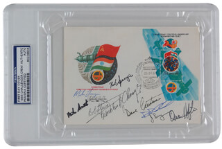 CAPTAIN MICHAEL J. SMITH - FIRST DAY COVER SIGNED CO-SIGNED BY: BRIGADIER GENERAL ROBERT L. BOB STEWART, CAPTAIN DAVID C. LEESTMA, FRANKLIN F. CHANG-DIAZ, MIKE (JOHN M.) LOUNGE, CAPTAIN RICHARD RICHARDS, COLONEL DAVID C. HILMERS, JAMES P. BAGIAN, COLONEL ROBERT C. SPRINGER
