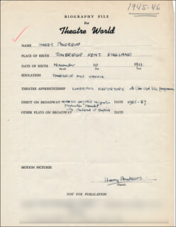 HARRY ANDREWS - AUTOGRAPH RESUME SIGNED