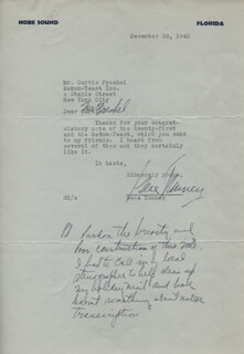 GENE TUNNEY - TYPED LETTER SIGNED 12/28/1940