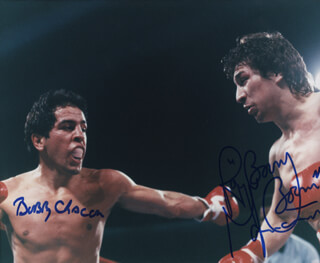 RAY BOOM BOOM MANCINI - AUTOGRAPHED SIGNED PHOTOGRAPH CO-SIGNED BY: BOBBY CHACON