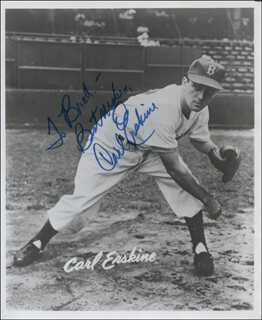 CARL ERSKINE - AUTOGRAPHED INSCRIBED PHOTOGRAPH